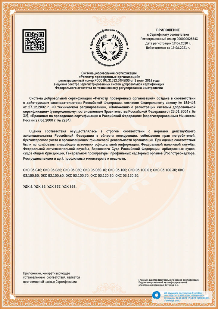 сертификат КУЗ-2 PROFITEX
